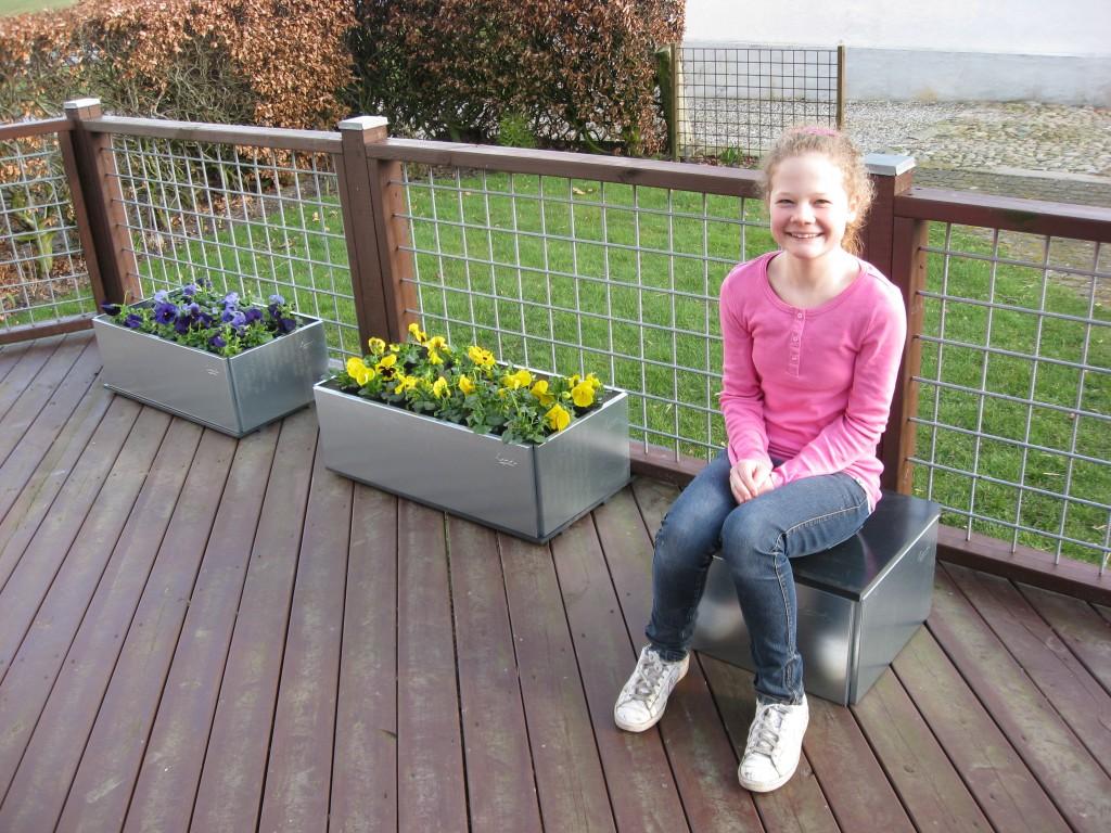 blomsterkasser på terrassen