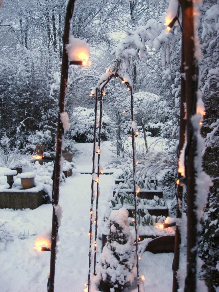 plantekummer med espalier i sneen